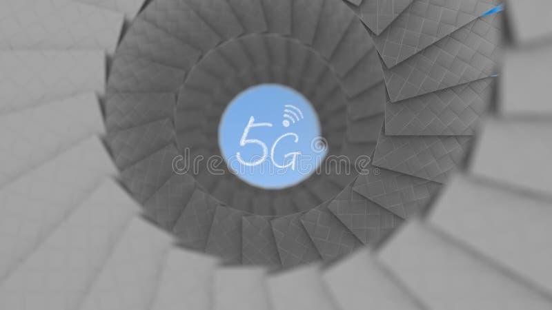 o vintage antigo da rendição 3d arredondou a escadaria no foco da casa a 5G fotos de stock royalty free
