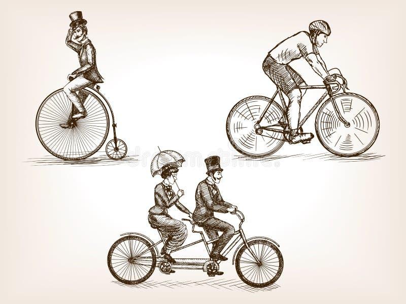O vintage bicycles a ilustração do vetor do esboço ilustração do vetor