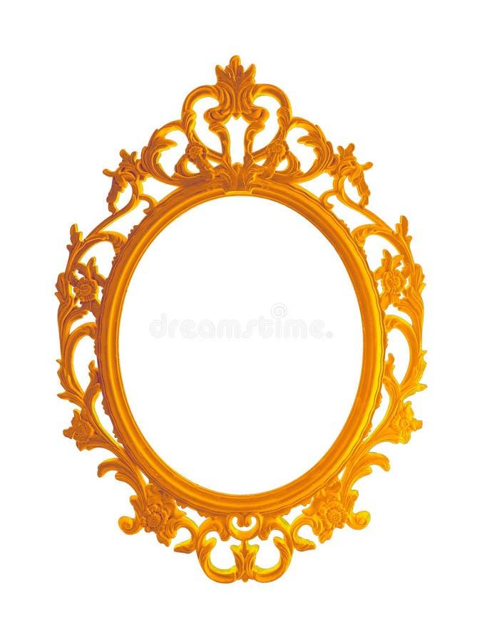 O vintage bonito dourou o quadro ou o espelho da foto isolado no fundo branco imagens de stock