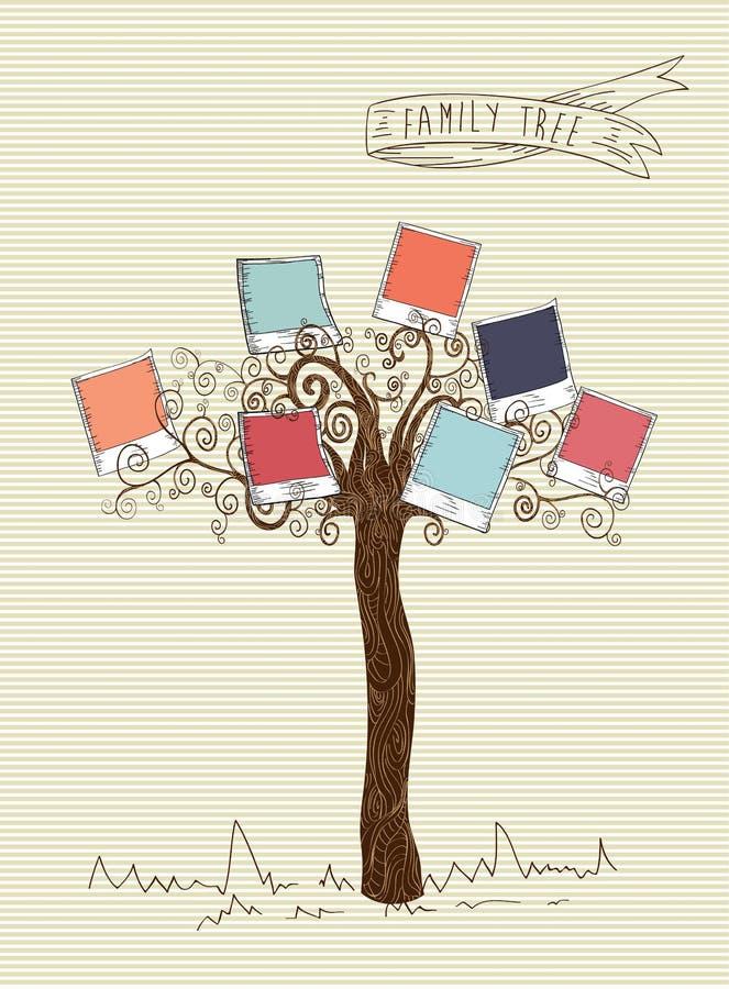 O vintage colore a árvore imediata da foto ilustração do vetor