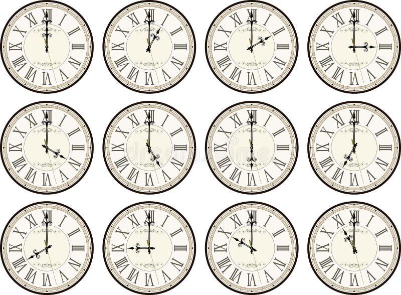 O vintage cronometra épocas diferentes ilustração stock