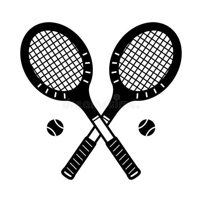 O vintage da ilustração do logotipo do badminton do ícone do vetor da raquete de tênis ostenta ilustração stock