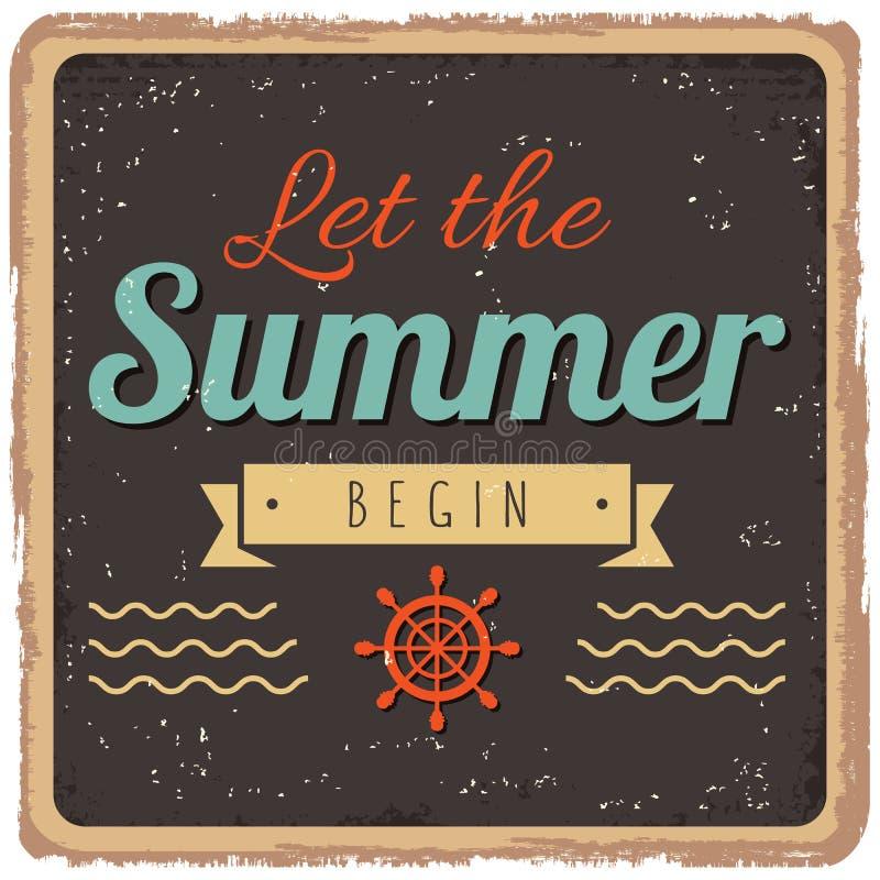 O vintage denominou o cartaz do verão ilustração stock