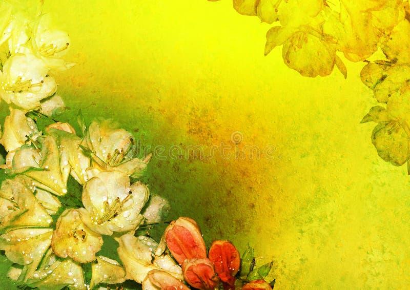 O vintage denominou o frame floral - azálea ilustração stock