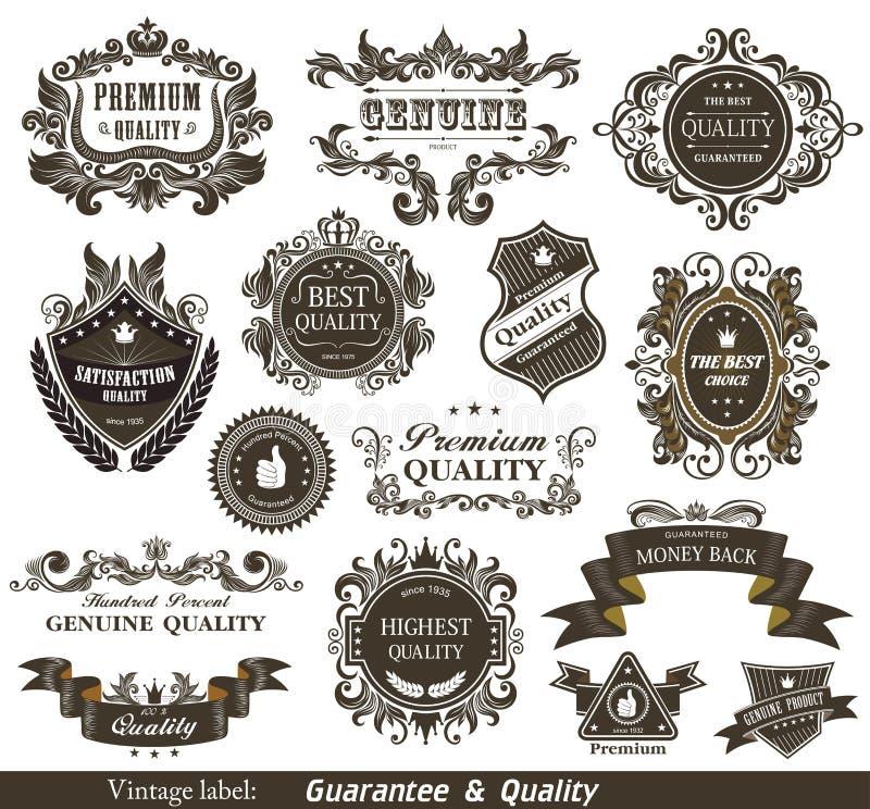 O vintage denominou a qualidade e a satisfação superiores Gu ilustração royalty free