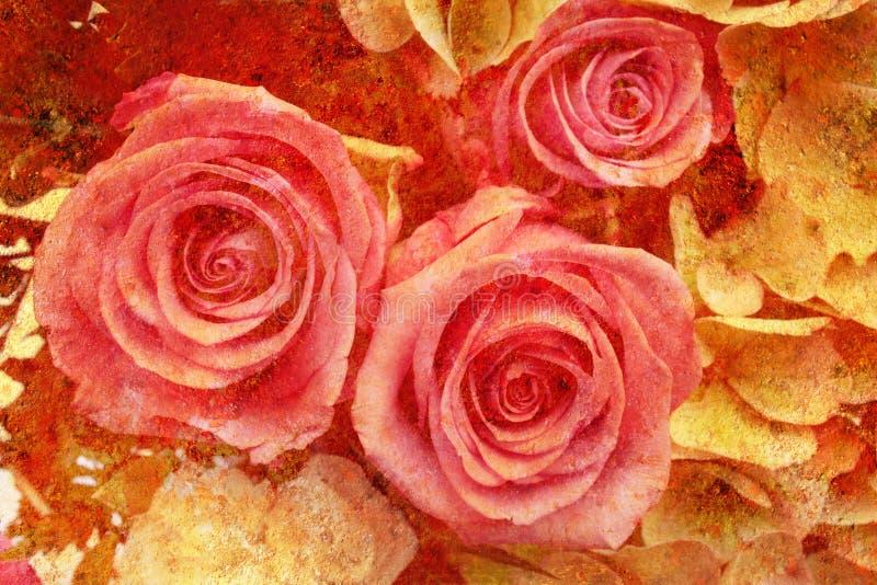 O vintage denominou rosas fotos de stock royalty free