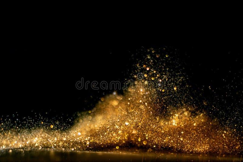 O vintage do brilho ilumina o fundo Ouro e preto De focalizado foto de stock