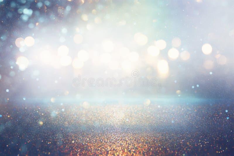 O vintage do brilho ilumina o fundo Prata e azul de-focalizado ilustração stock