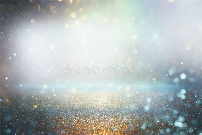 O vintage do brilho ilumina o fundo Prata e azul de-focalizado ilustração royalty free