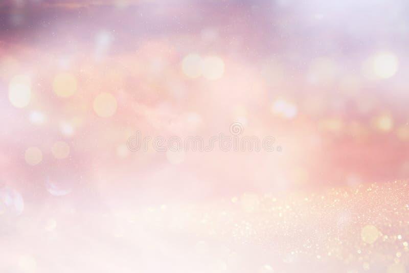 O vintage do brilho ilumina o fundo Prata e ouro de-focalizado ilustração do vetor