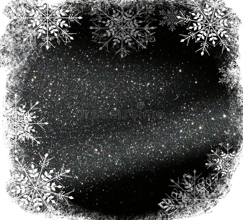 O vintage do brilho ilumina o fundo prata clara e preto defocused com folha de prova dos flocos de neve ilustração stock