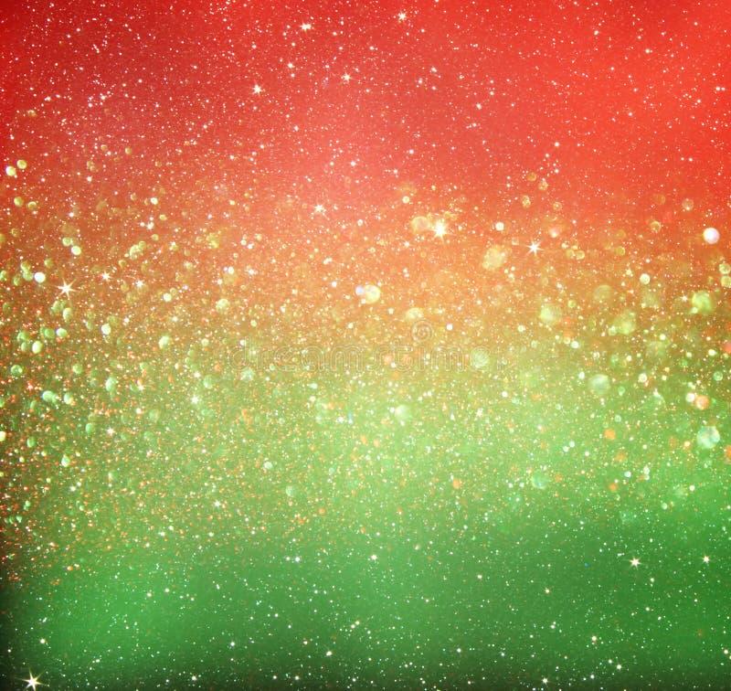 O vintage do brilho ilumina o fundo Vermelho, ouro e verde de-focalizado ilustração stock