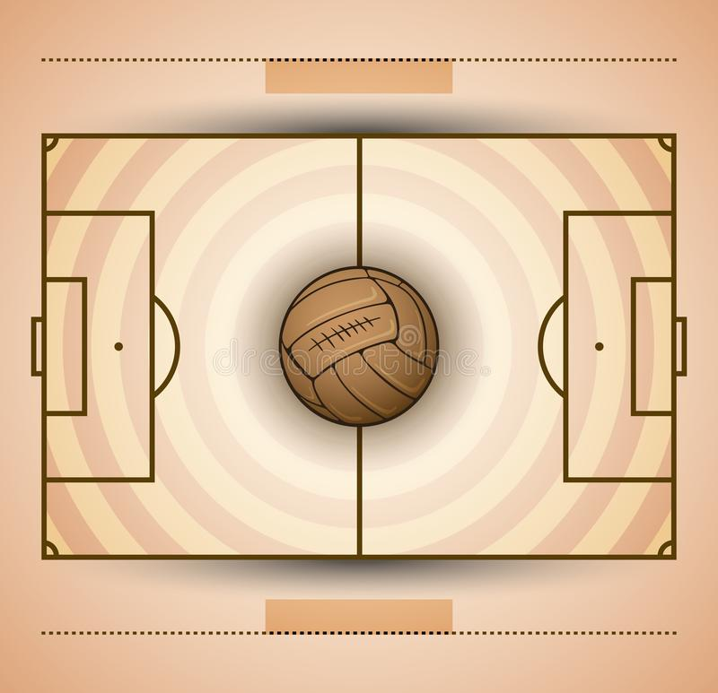 O vintage do campo de futebol e da bola de futebol denomina a ilustração ilustração stock