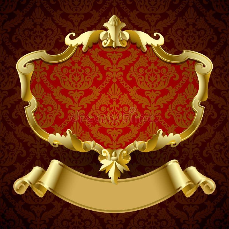 O vintage do ouro moldou o quadro indicador decorativo com a bandeira na obscuridade - vermelho ilustração stock