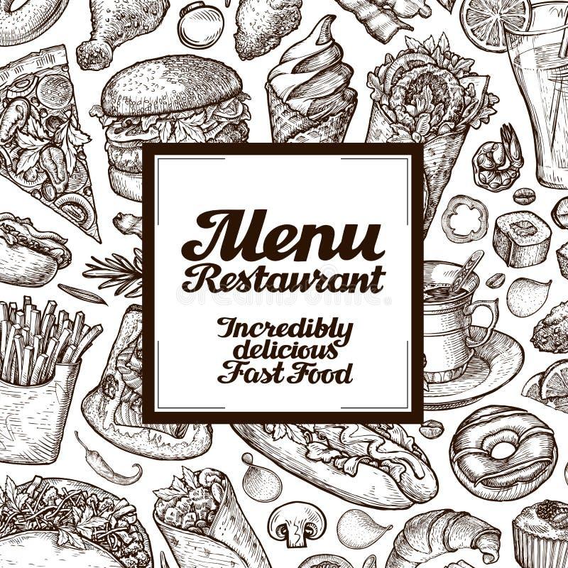 O vintage do vetor esboça a ilustração do fast food tampas do menu do molde do projeto para o restaurante ou o café ilustração stock