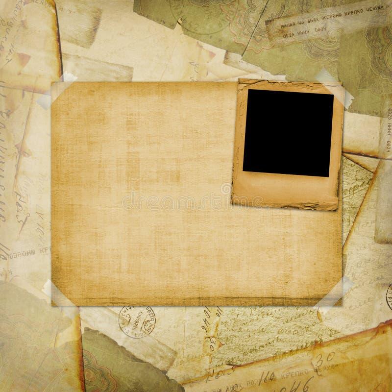 O vintage envelheceu o fundo, cartão velho, envelopes ilustração stock