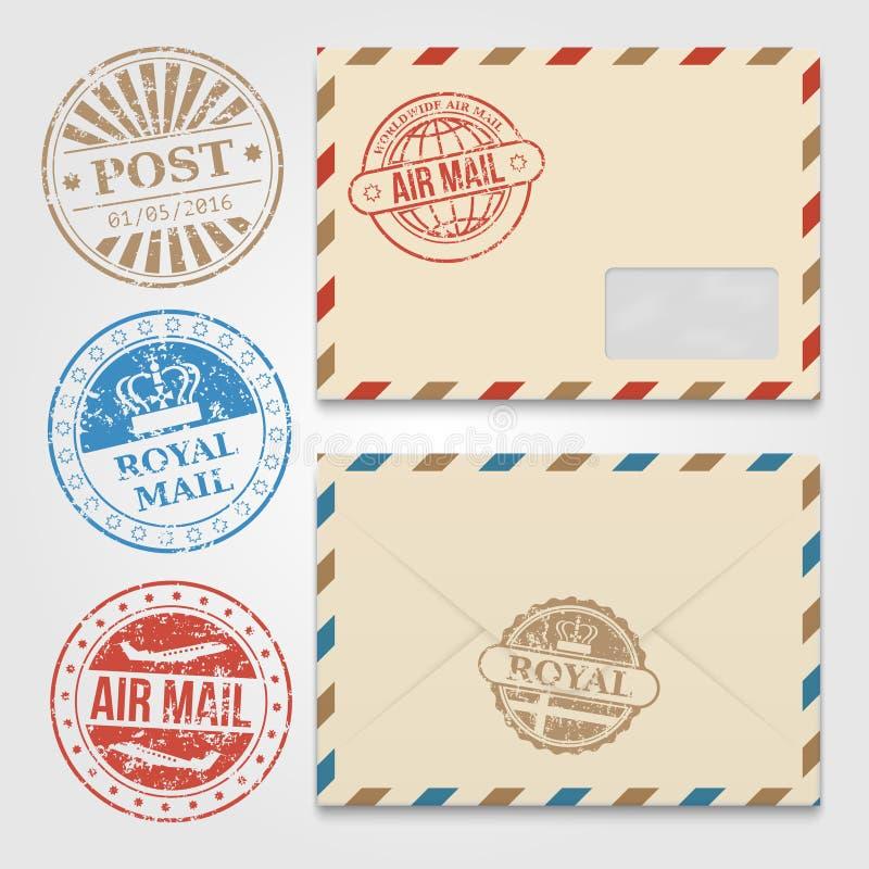 O vintage envolve o molde com selos postais do grunge ilustração stock
