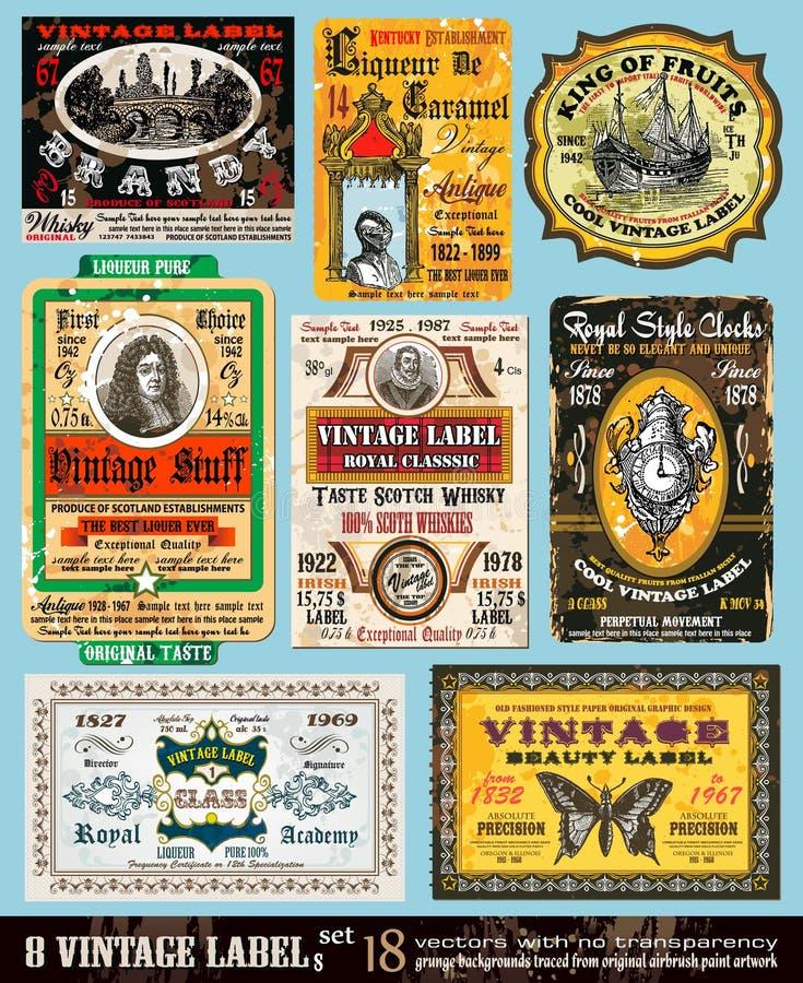 O vintage etiqueta a coleção - jogo 18 ilustração stock