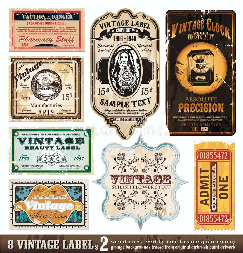 O vintage etiqueta a coleção - jogo 2 ilustração do vetor