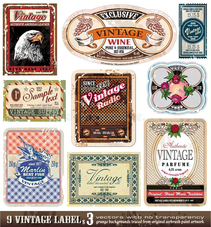 O vintage etiqueta a coleção - jogo 3 ilustração royalty free