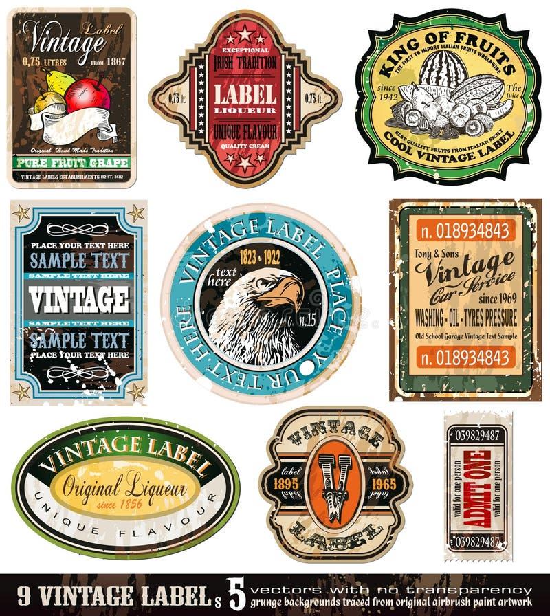 O vintage etiqueta a coleção - jogo 5 ilustração stock