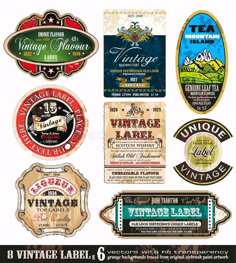 O vintage etiqueta a coleção - jogo 6 ilustração do vetor
