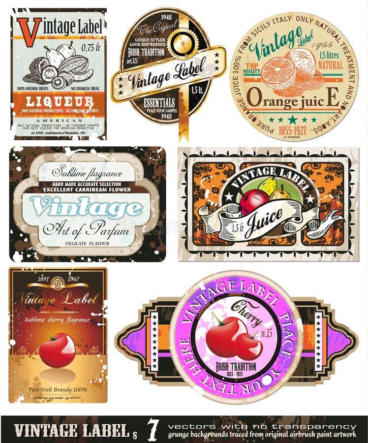 O vintage etiqueta a coleção - jogo 7 ilustração stock