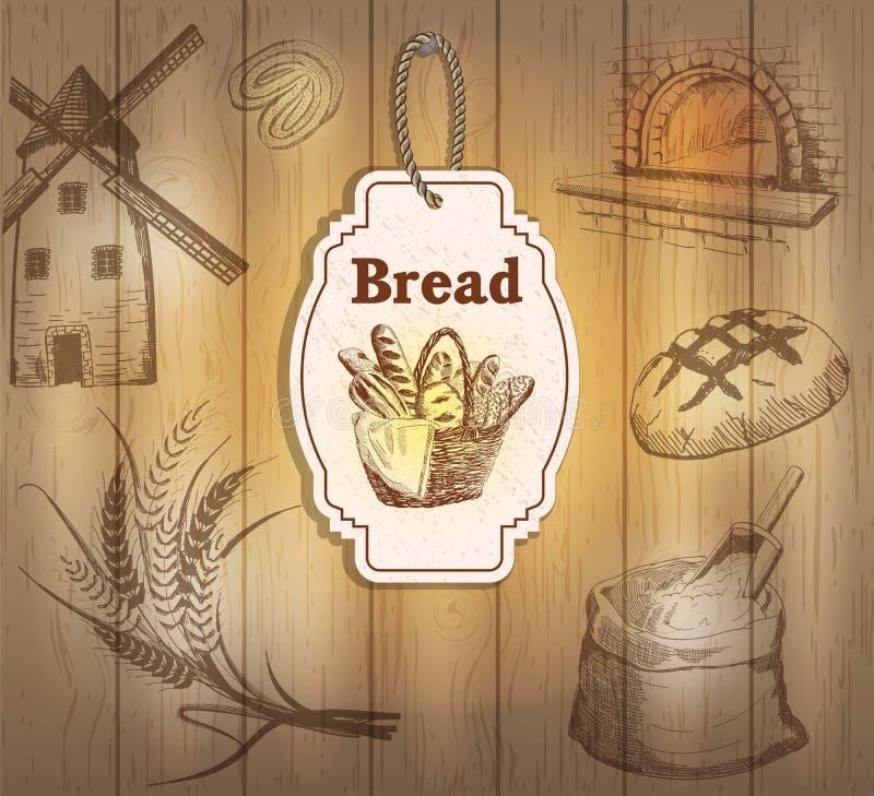 O vintage etiqueta o pão ilustração stock