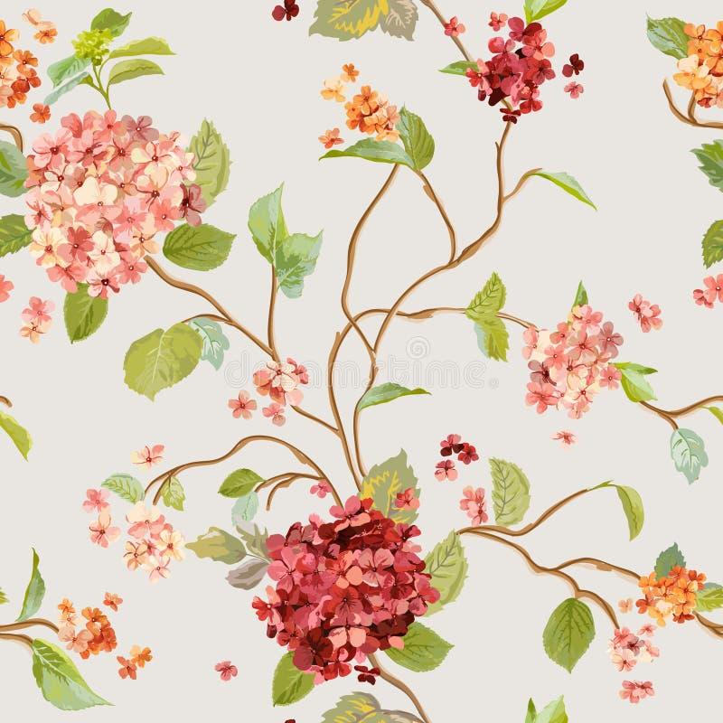 O vintage floresce - Hortensia Background floral - o teste padrão sem emenda ilustração do vetor