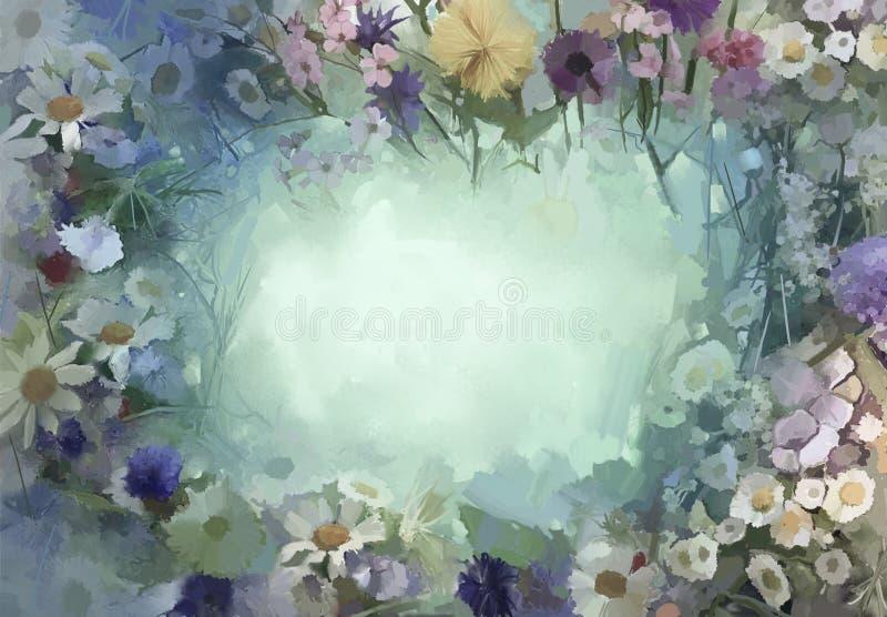 O vintage floresce a pintura Flores no estilo macio da cor e do borrão ilustração do vetor