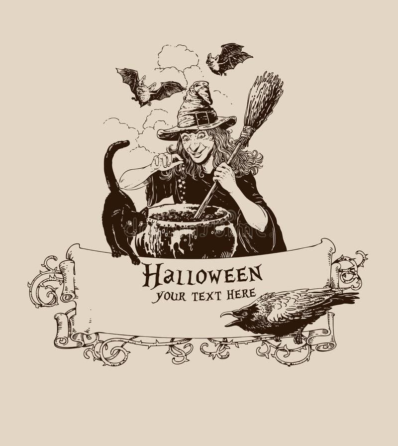 O vintage helloween a bruxa que faz a ilustração do vetor do cartaz da poção imagens de stock