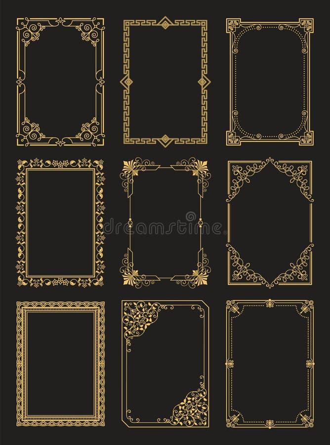 O vintage molda as beiras douradas da coleção isoladas ilustração royalty free