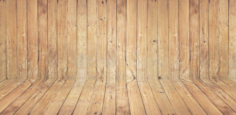 O vintage a parede e o assoalho de madeira velhos marrons texture com nó para foto de stock royalty free