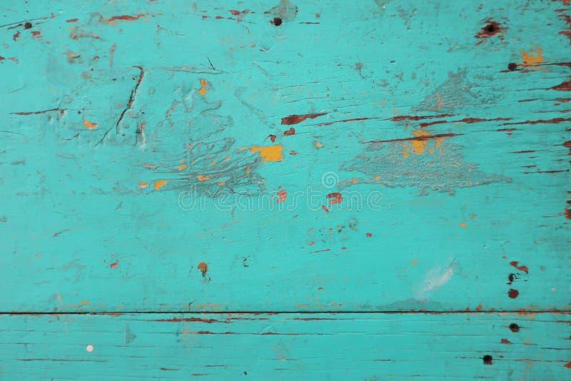 O vintage pintou a textura azul verde de madeira imagens de stock