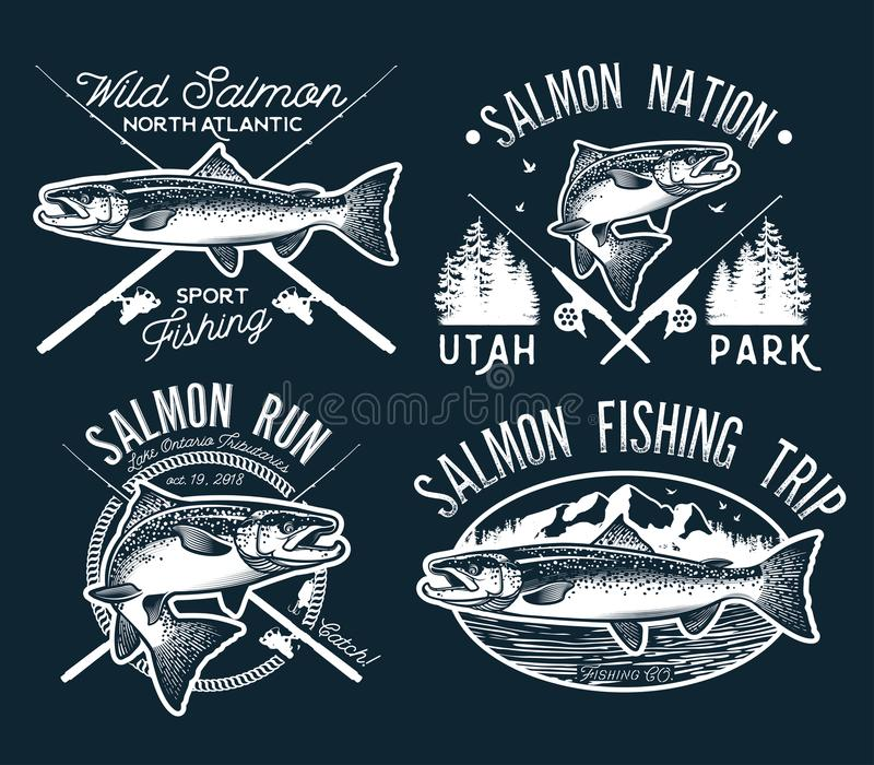 O vintage Salmon Fishing simboliza, etiquetas e elementos do projeto Ilustração do vetor ilustração do vetor