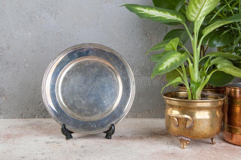 O vintage silverplate o prato e plantas verdes foto de stock
