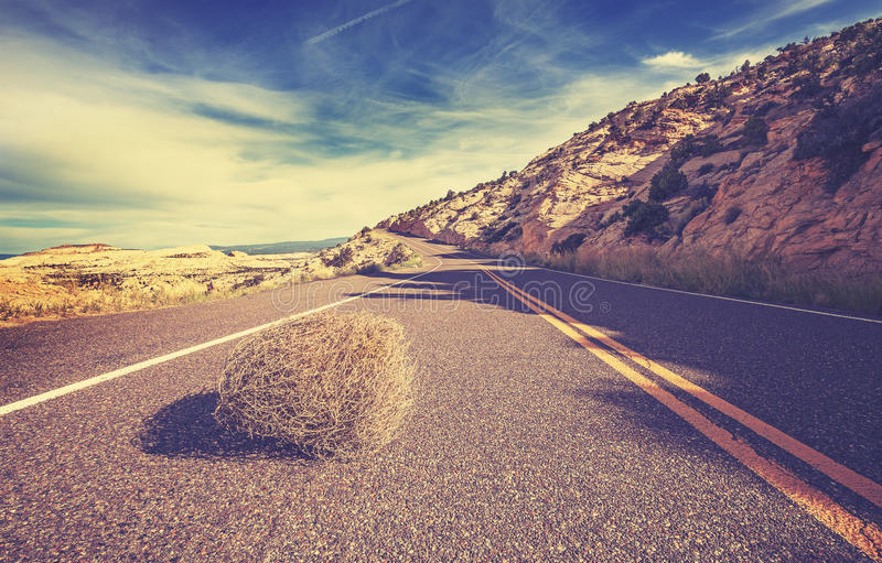 O vintage tonificou o amaranto na estrada vazia imagem de stock