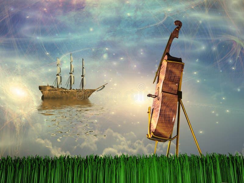 O violoncelo no sonho gosta da paisagem ilustração do vetor