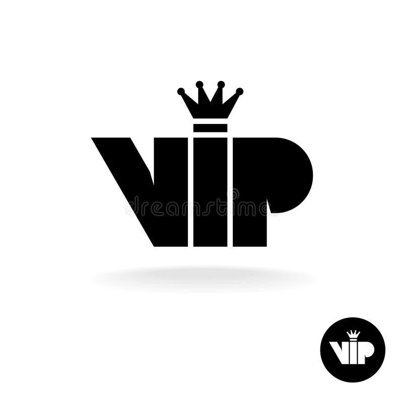 O VIP rotula o ícone preto simples da silhueta da abreviatura ilustração do vetor