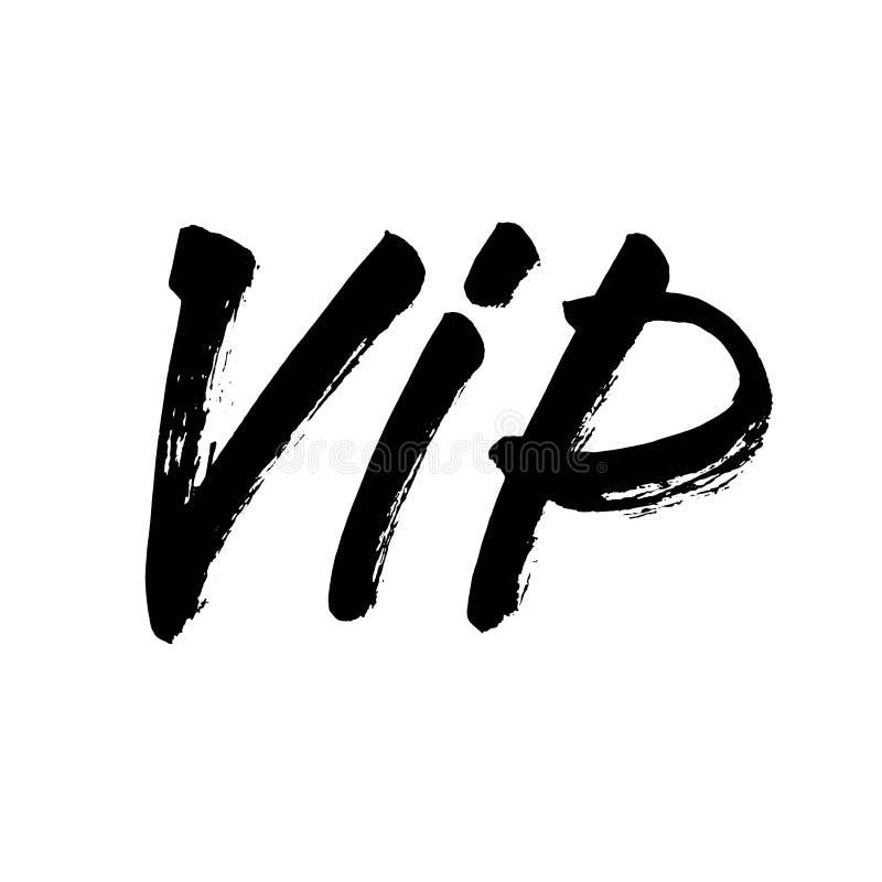 O VIP rotula o ícone preto simples da silhueta da abreviatura A caligrafia moderna escrita à mão, escova pintou letras Vetor ilustração royalty free