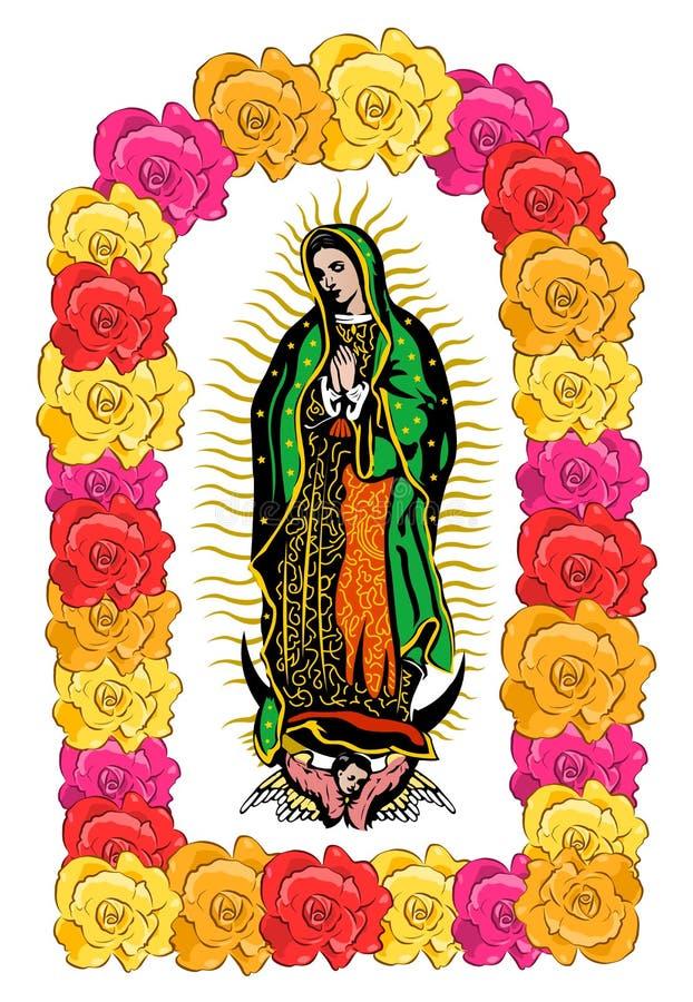 O Virgin de Guadalupe, rosas da cor isolou a ilustração do vetor ilustração royalty free