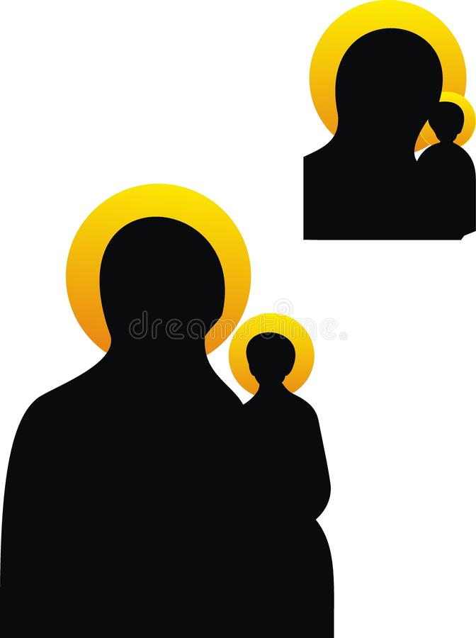 O Virgin e a criança ilustração stock