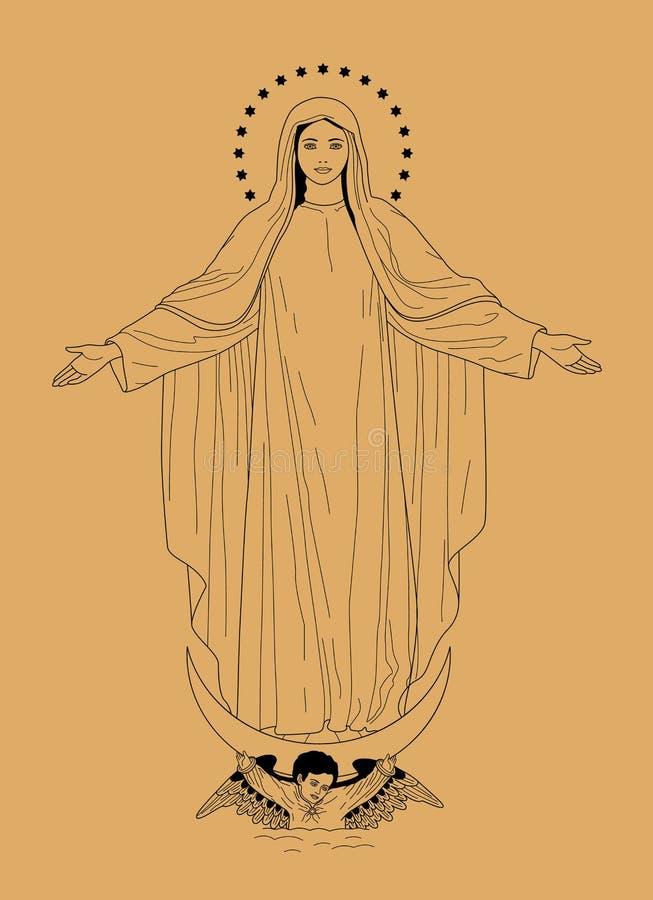 O Virgin Mary ilustração do vetor