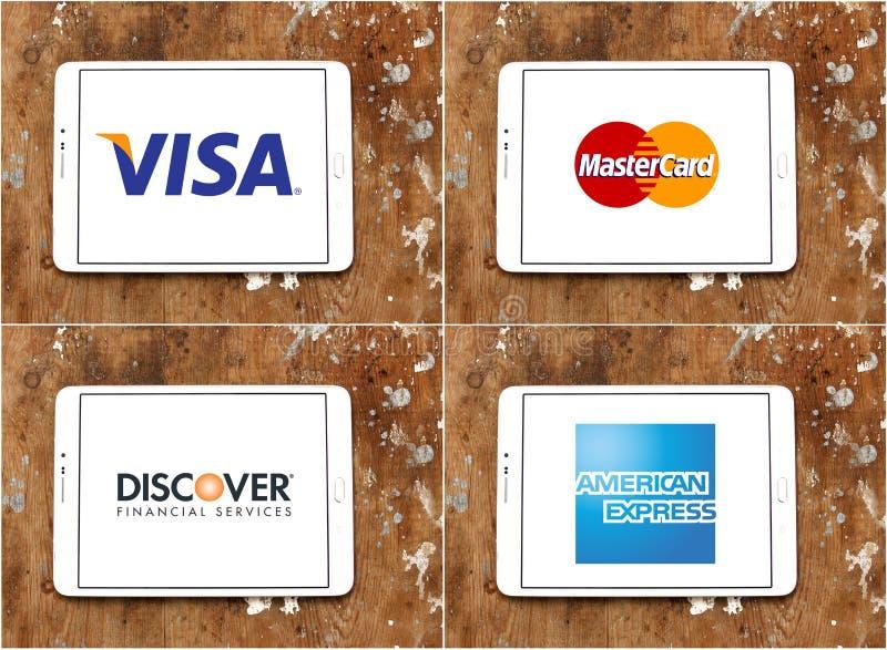 O visto mundial dos métodos de transferência de dinheiro, MasterCard, descobre, American Express ilustração stock