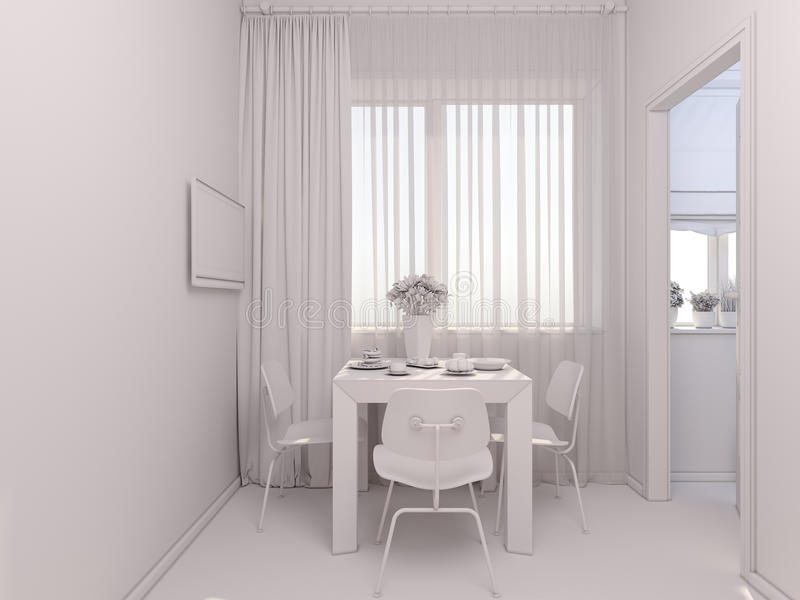 o visualização 3D do interior designkitchen em um apartamento de estúdio ilustração stock