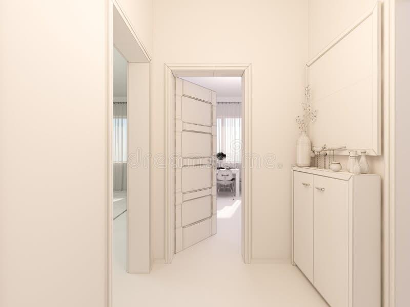 o visualização 3D do interior designkitchen em um apartamento de estúdio ilustração do vetor