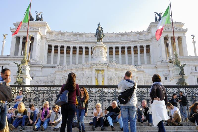 O VITORIANO, MONUMENTO DE VITTORIO EMANUELE, PLAZA DE VENEZA, CENTRO HISTÓRICO DO ` S DE ROMA, ITÁLIA imagem de stock royalty free