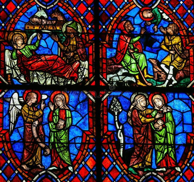 O vitral da visitação na catedral das excursões, França fotografia de stock royalty free