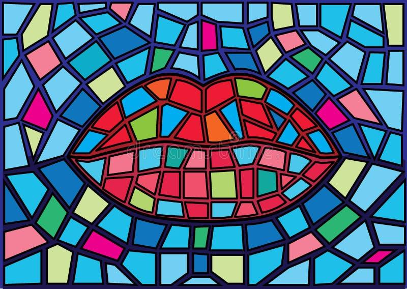 O vitral de moses da boca ? um vidro de mosaico que seja usado para decorar uma imagem de uma porta da janela ilustração do vetor