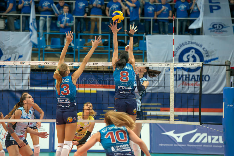 O voleibol das mulheres fotografia de stock